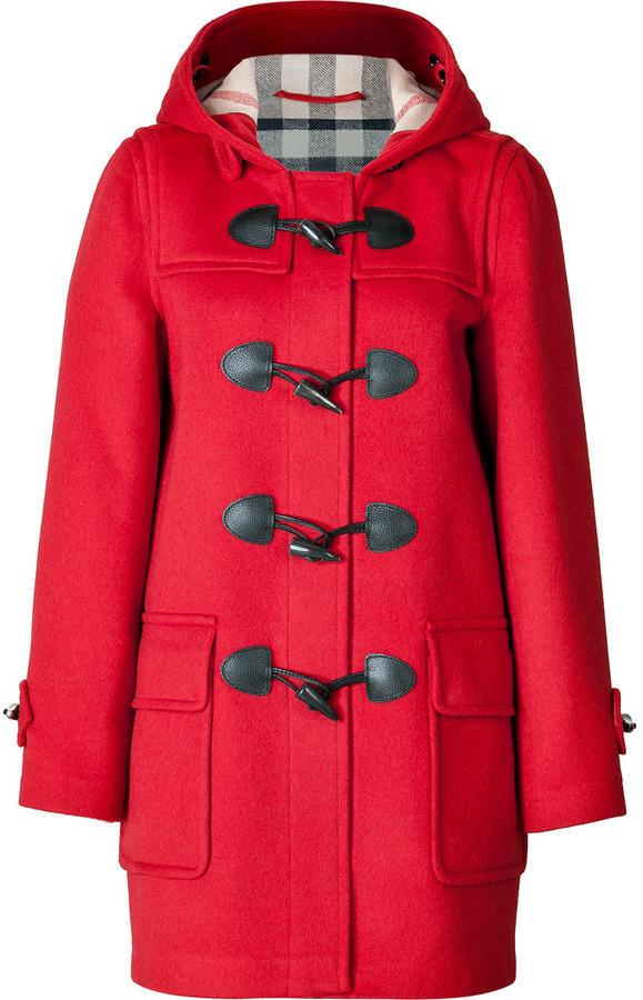 Burberry Brit Wool Minstead Duffle Coat In Military Red | Where to