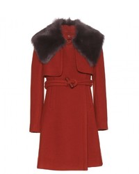 Chloé Chlo Fur Trimmed Wool Coat