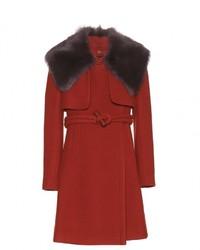 Chloé Chlo Fur Trimmed Wool Coat