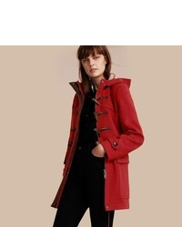 Burberry Wool Duffle Coat With Check And Hearts Lining