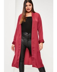 Missguided Plus Size Red Satin Tie Waist Duster Coat