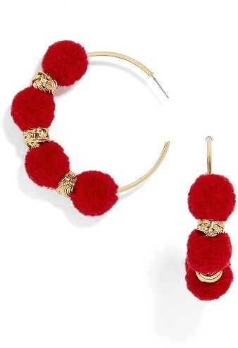 a6119efa3d7d4e BaubleBar Curacao Pompom Hoop Earrings, $32 | Nordstrom | Lookastic.com