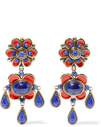 Etro Enameled Gold Tone Earrings Red