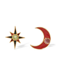 Percossi Papi Gold Plated And Enamel Multi Stone Earrings