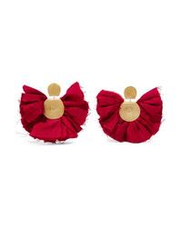 Katerina Makriyianni Hand Fan Gold Tone And Silk Earrings