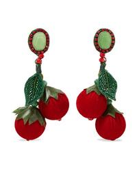 Ranjana Khan La Cerise Silver Tone Leather Velvet Silk Bead And Crystal Earrings