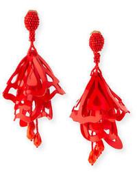 Oscar de la Renta Large Lace Impatiens Flower Drop Earrings