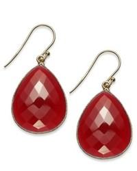 Macy's 14k Gold Over Sterling Silver Earrings Red Onyx Pear Cut Earrings