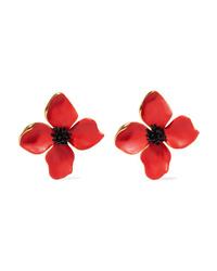 Oscar de la Renta Painted Flower Button Gold Tone And Resin Clip Earrings