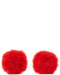 Balenciaga Shearling Earrings Red