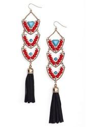 Adia Kibur Stone Tassel Drop Earrings