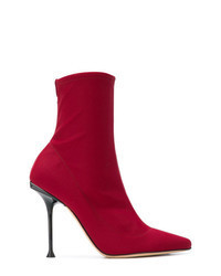 Red Elastic Ankle Boots
