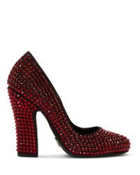 Prada Black And Red Crystal Heels