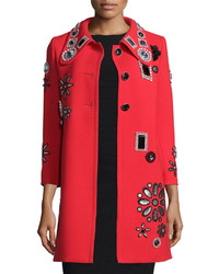 Marc Jacobs 34 Sleeve Embellished Coat Red