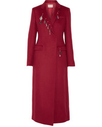Embellished wool coat claret medium 819572