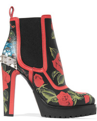 Embellished floral print ankle leather boots red medium 3700207