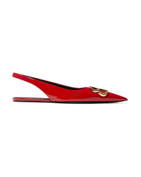 Balenciaga Knife Logo Embellished Patent Leather Point Toe Flats