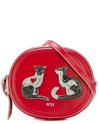 Red Embellished Leather Crossbody Bag