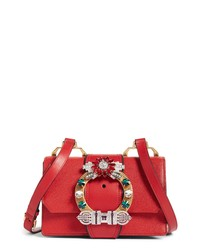 Miu Miu Madras Crystal Embellished Leather Shoulder Bag
