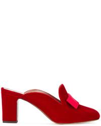 Tabitha Simmons Red Velvet Anya Bow 75 Mules