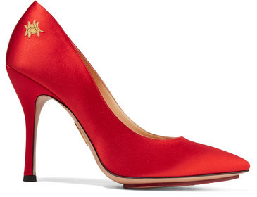 Charlotte Olympia Bacall Embellished Satin Pumps Red