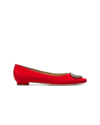 Manolo Blahnik Red Okkato 10 Satin Pumps