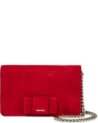 Miu Miu Bow Embellished Suede Shoulder Bag Crimson