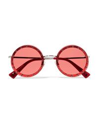 Valentino Crystal Embellished Round Frame Acetate Sunglasses