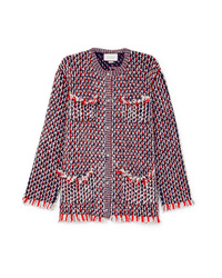 Gucci Crystal Embellished Wool Blend Boucl Tweed Jacket