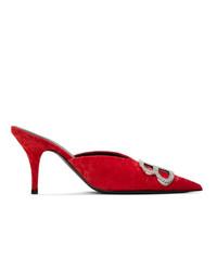 Balenciaga Red Crushed Velvet Bb Mules