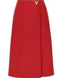 Valentino Embellished Wool Wrap Skirt