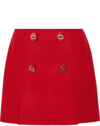Prada Button Embellished Wool Mini Skirt Red