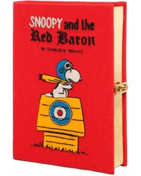 Olympia le tan snoopy red baron embroidered book clutch medium 637702