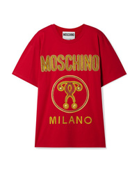 Moschino Oversized Embroidered Cotton Jersey T Shirt