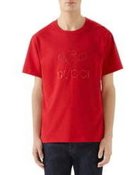 Gucci Tennis Embroidered Cotton T Shirt