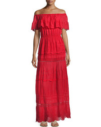 Alice + Olivia Pansy Embroidered Off The Shoulder Boho Maxi Dress Bright Red