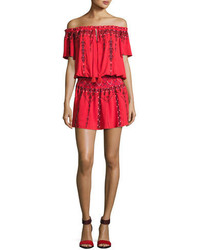 Parker Tammy Embroidered Smocked Waist Mini Dress Red