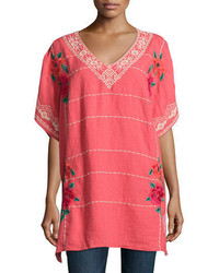 Johnny Was Selena Embroidered Linen Poncho Top Plus Size