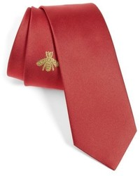 Gucci Embroidered Bee Silk Blend Jacquard Tie