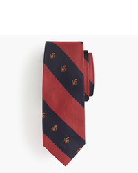 J.Crew Silk Tie In Stripe With Embroidered Squirrels