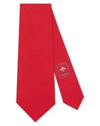 Gucci Tiger Embroidered Silk Tie