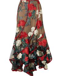 Costarellos Embroidered Tulle Midi Skirt
