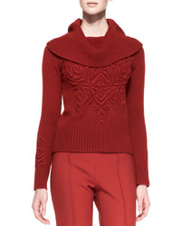 Carolina Herrera Long Sleeve Turtleneck Sweater With Embroidery Brick Red