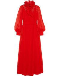 Lanvin Appliqud Silk Mousseline Gown Red