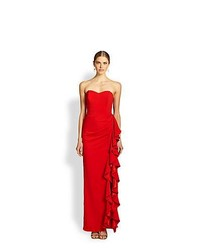 Badgley Mischka Strapless Ruffle Gown Red