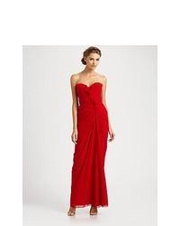 Badgley Mischka Strapless Silk Gown Red