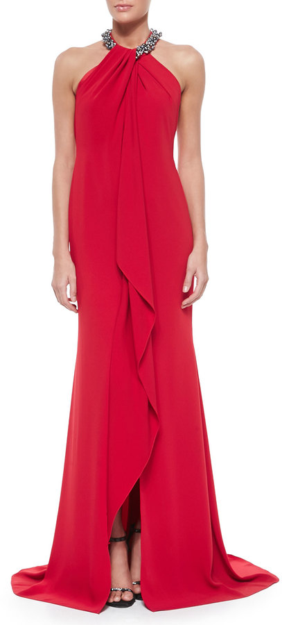 Carmen Marc Valvo Beaded Neck Toga Gown Red | Where to buy & how to wear