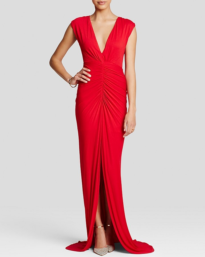 ABS by Allen Schwartz Gown Sleeveless V Neck Jersey Ruched | Where ...