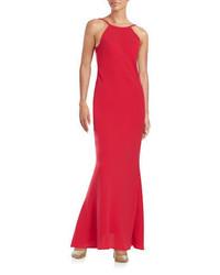 Vestido rojo calvin klein v neck