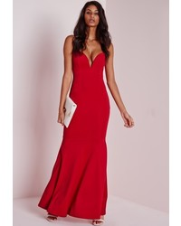 Missguided Sweetheart Neck Maxi Dress Red